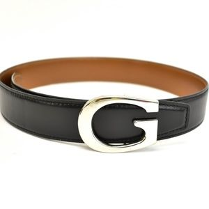 GUCCI Black/Brown Reversible Leather G Belt (nt)